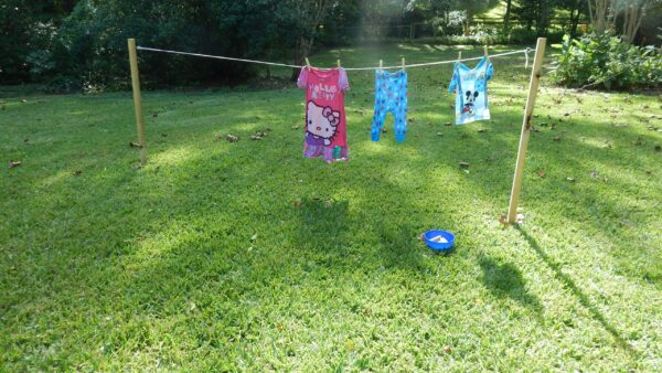 clothes hanging to dry following Practical Life activity