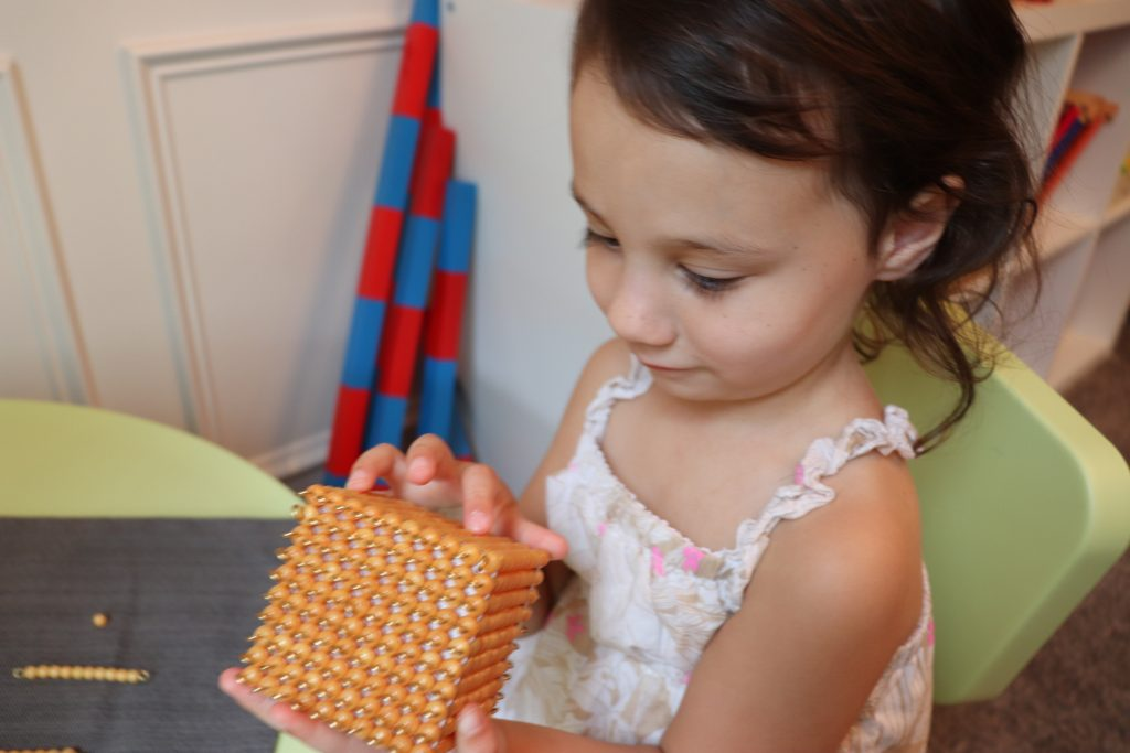 Child holding Golden Bead Material during the math Montessori sensitive periods.