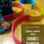 Open-ended toys: the Grimm's rainbow pinterest image.
