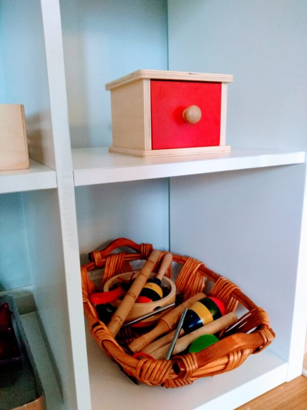 A toy shelf for a toddler
