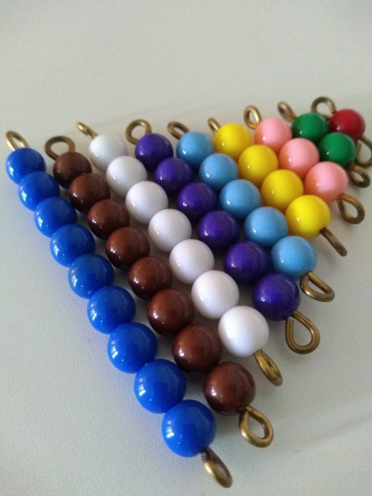 Montessori short bead stair, a Montessori math material.