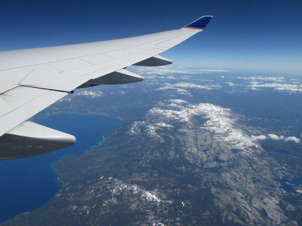 image of view of airplane wing for Montessori travel toys post.