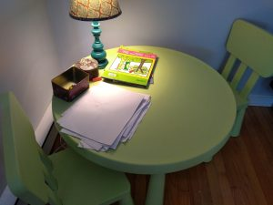Small crafting table and chairs. Montessori furniture.