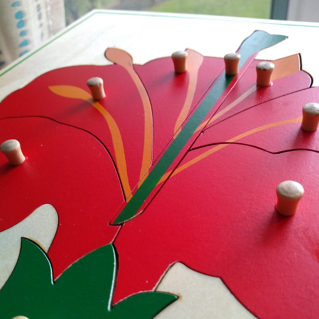 Montessori flower knobbed puzzle. Built in control of error.