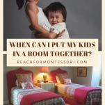 Siblings hugging and room with two beds, when can i put my kids in a room together? pinterest image.
