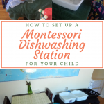 how to set up a montessori dishwashing station for your child pinterest image.