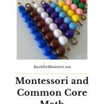 Montessori colored math beads: Montessori math and common core pinterest image.