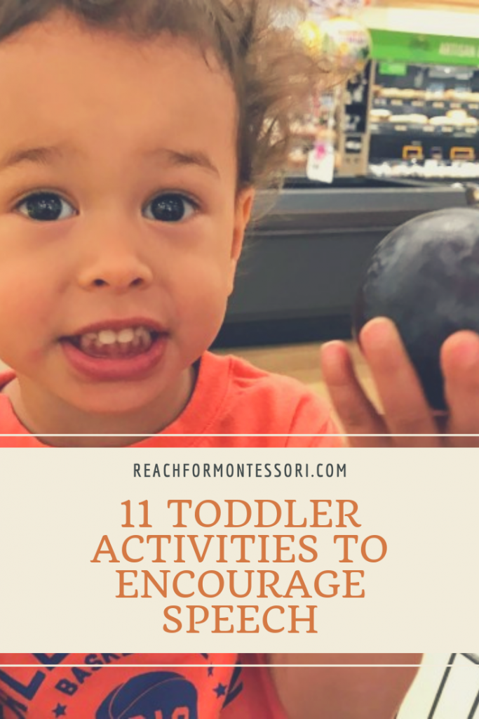 toddler talking about a plum, 11 Toddler Activities to Encourage Speech pinterest image.