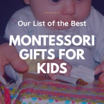 Baby opening gift, Montessori Gifts For Kids pinterest image.