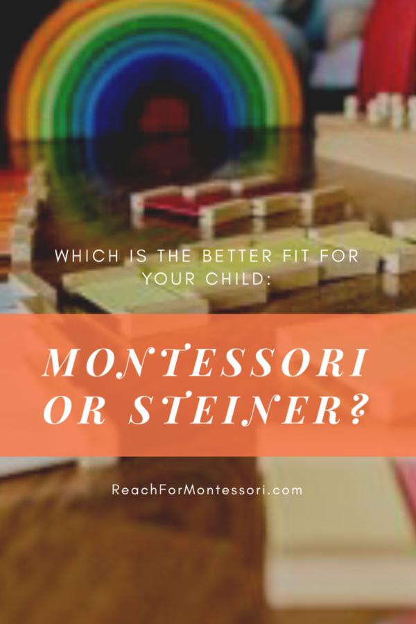 Montessori and Steiner materials in background, Montessori or Steiner pinterest image.