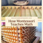 Montessori spindle box and Montessori golden beads, how Montessori teaches math pinterest image.