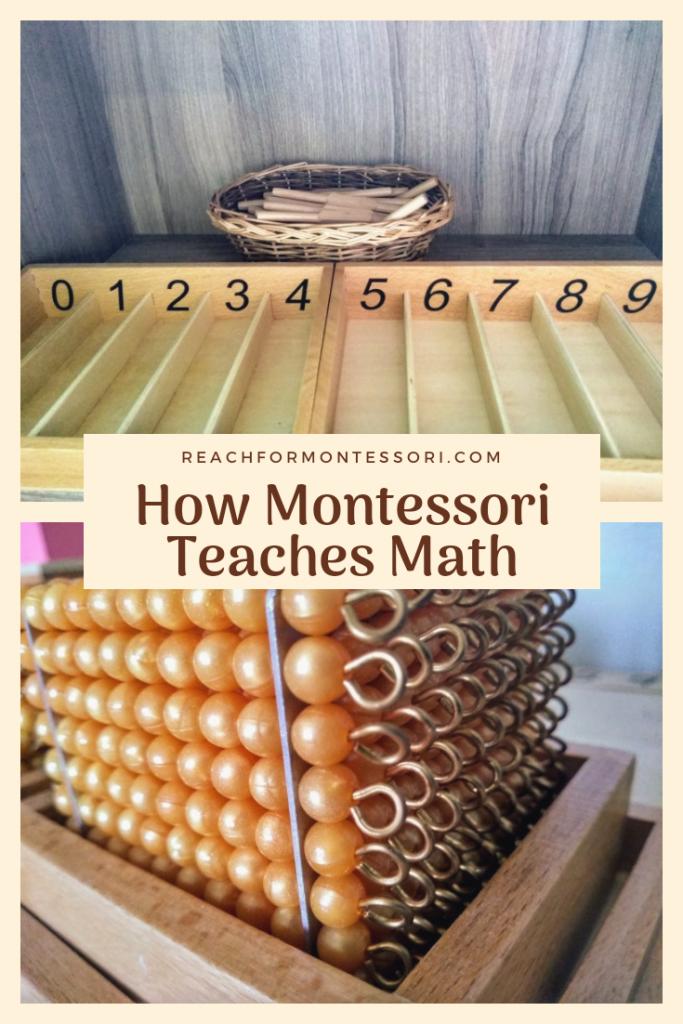 Montessori spindle box and Montessori golden beads, how Montessori teaches math pinterest image.