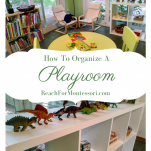 Montessori playroom with shelves, table and reading nook pinterest image.