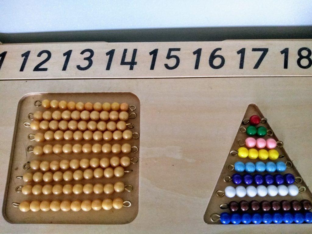 How montessori teaches math not using rote memorization: The Bead Stair.