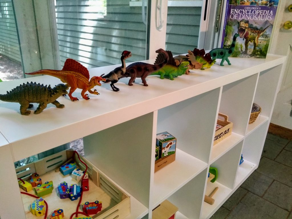 how to organize Montessori playroom image of shelf full of wooden and dinosaur toy gifts.