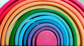 Why Wooden toys are the best: closeup of Grimm's rainbow stacker.