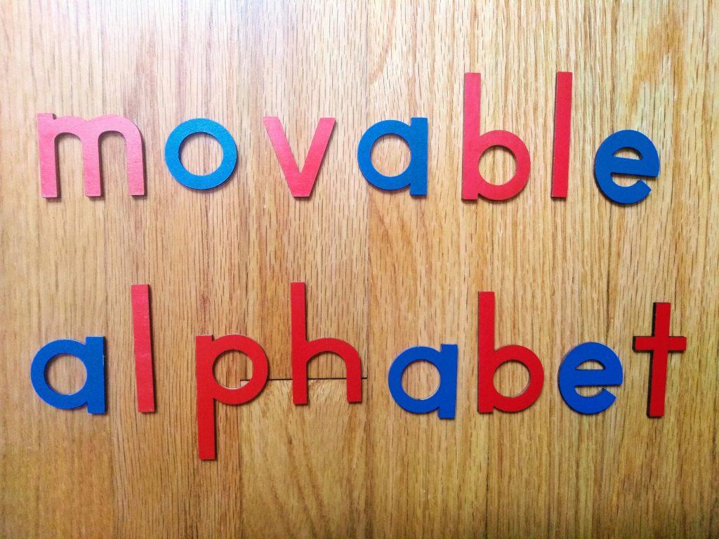 the small movable alphabet in montessori.