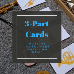 Musical Instrument games for toddlers 3-Part Cards pinterest image.