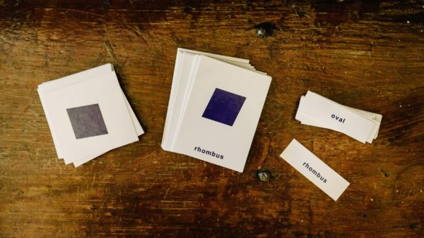 Montessori nomenclature cards, shapes and shape names.