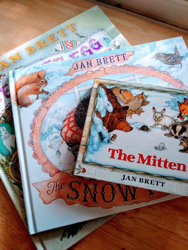 A stack of Jan Brett books. A precurser to fun Montessori sound games.