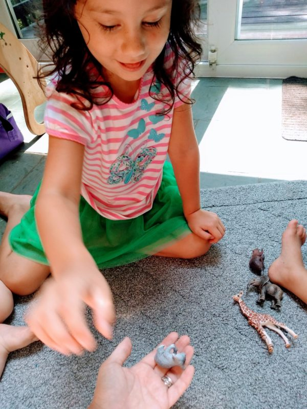 Girl playing Montessori sound game by finding small animals with certain letter sounds and handing them to her mom.