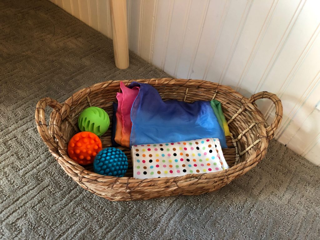play silks and chime balls in basket