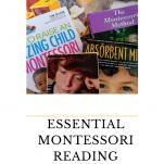 Pile of Montessori books Pinterest image for Essential Montessori Books to REad.