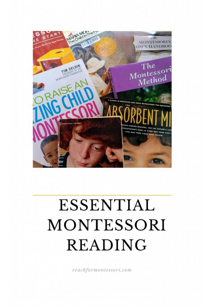 Pile of Montssori books Pinterest image
