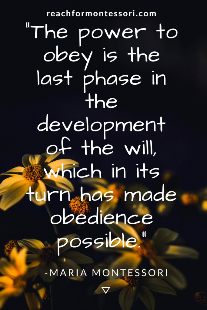 Montessori quote on obedience