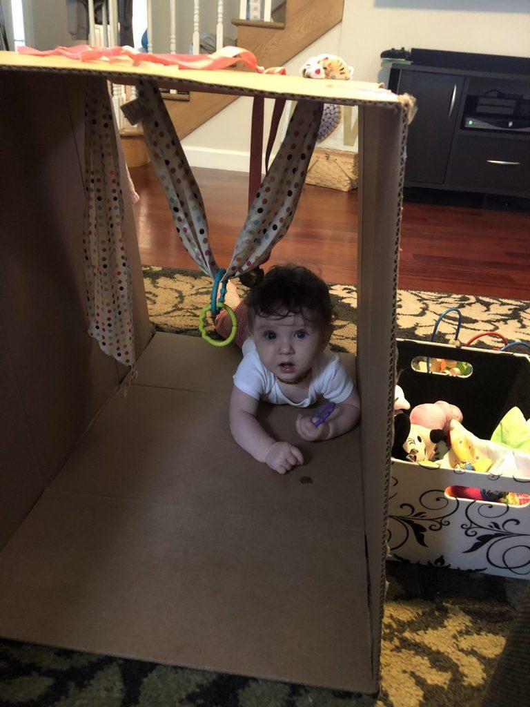 baby crawling through a box