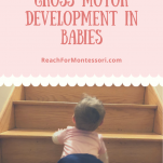 baby climbing stairs, How To Encourage Gross Motor Development in Babies pinterest image.