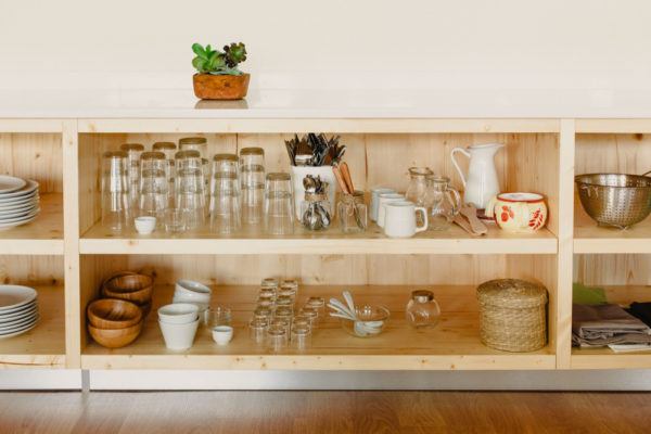 shelf containing glass items
