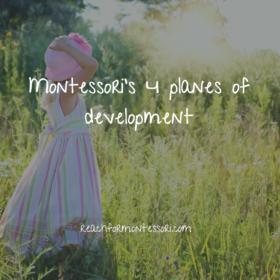 4 planes of development in montessori pinterest image.