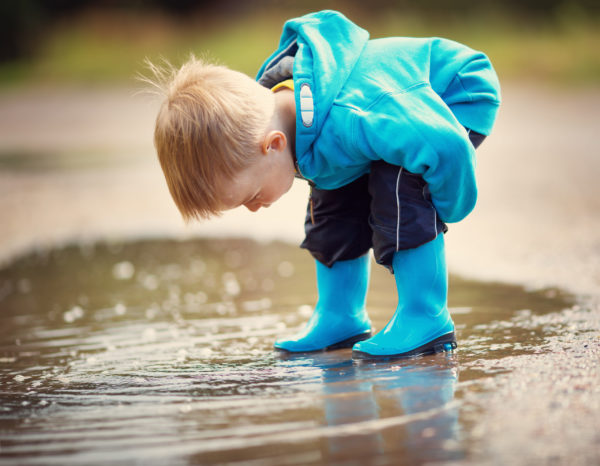 an absorbent mind exploring a puddle