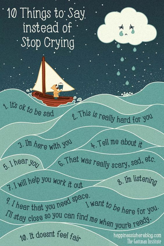 things to say instead of stop crying, encouraging emotional intellegence