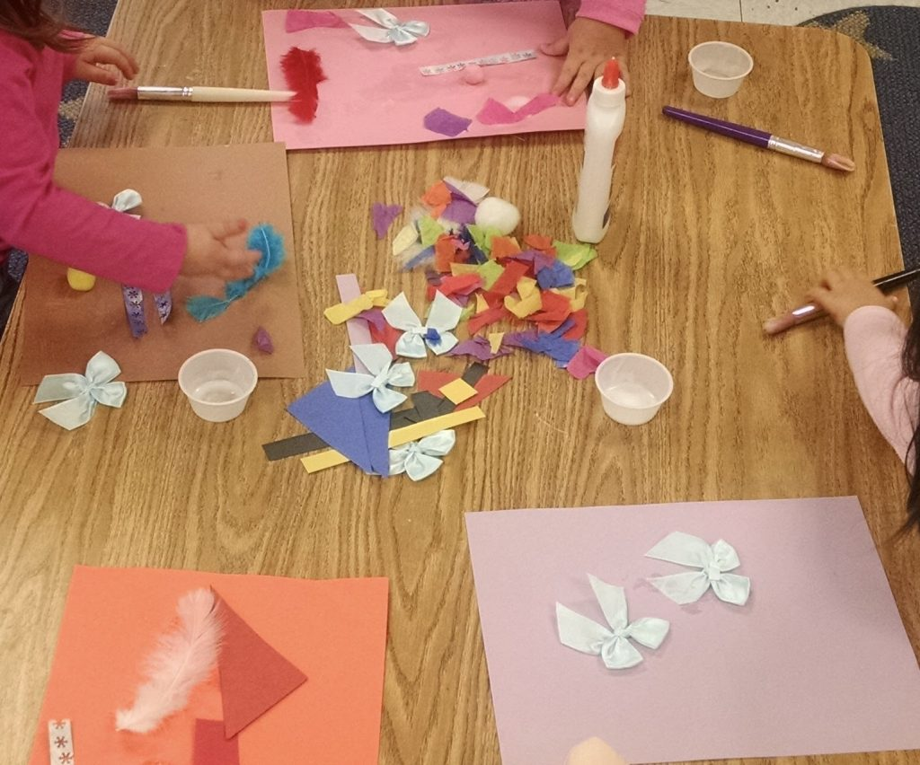 Collage loose parts play process art.