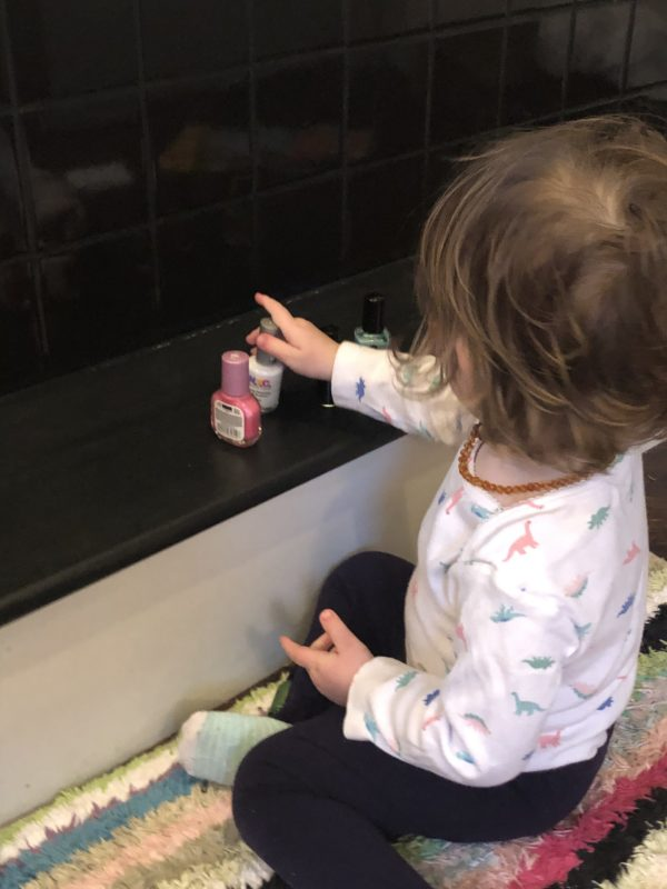 Positioning play schema lining up nail polish