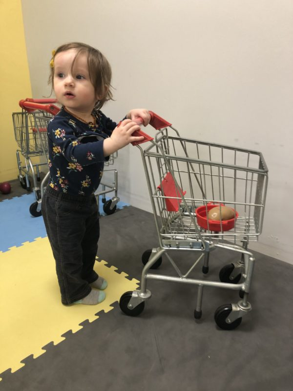 Toddler pushing a toy shopping cart, exhibiting the transporting play schema.
