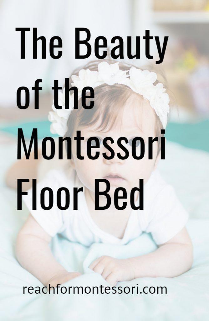 Montessori floor bed pinterest image with baby