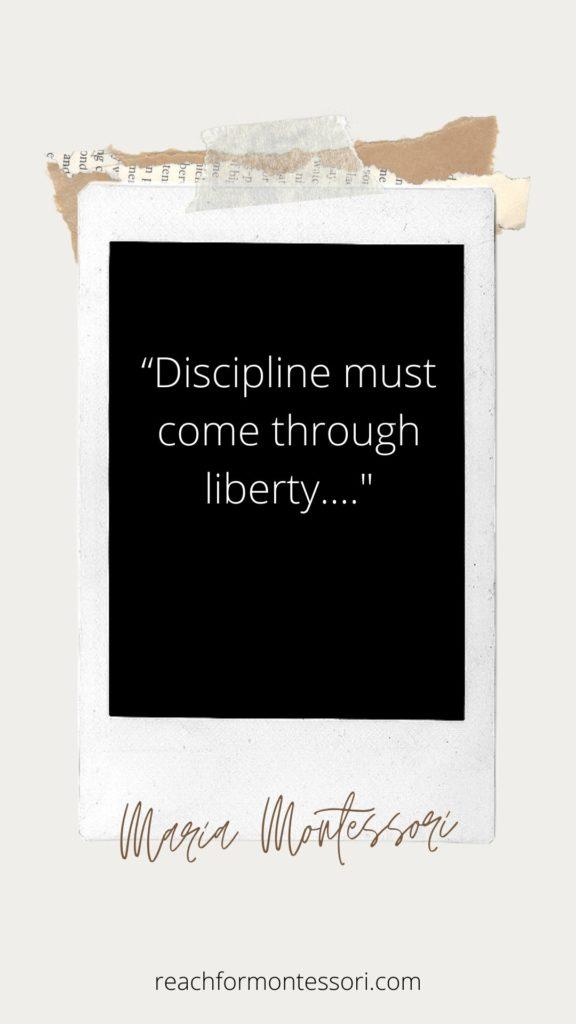 Maria Montessori quote. Discipline must come through liberty.