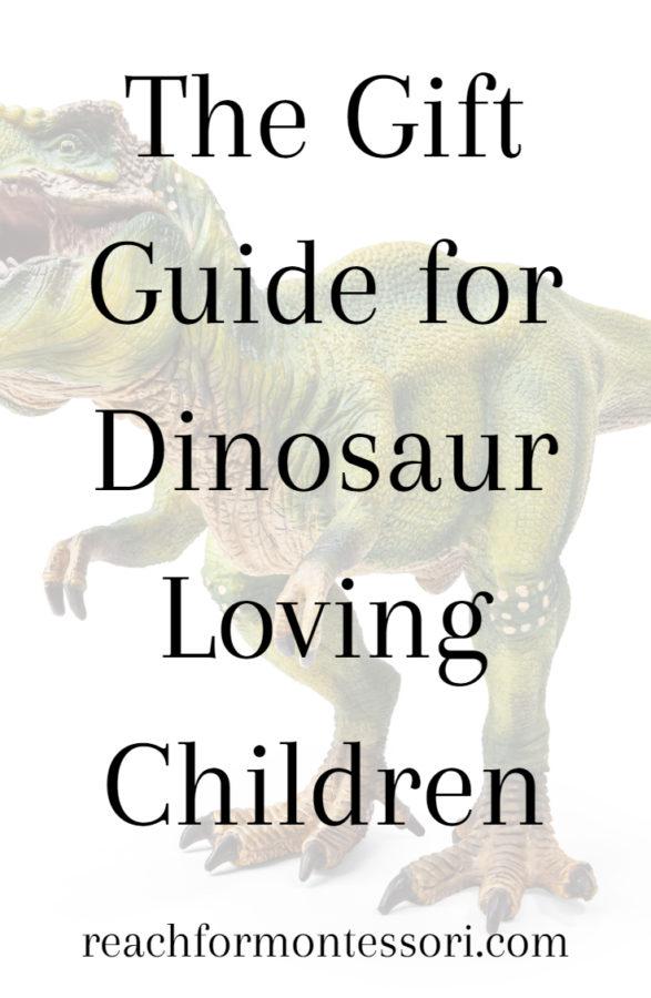 Dinosaur gifts for kids pinterest graphic.