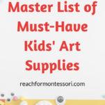 Art supplies for kids Pinterest graphic.