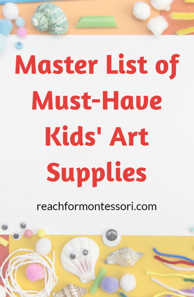 Art supplies for kids Pinterest graphic