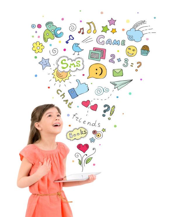 which learning app is the best? image of child and tablet