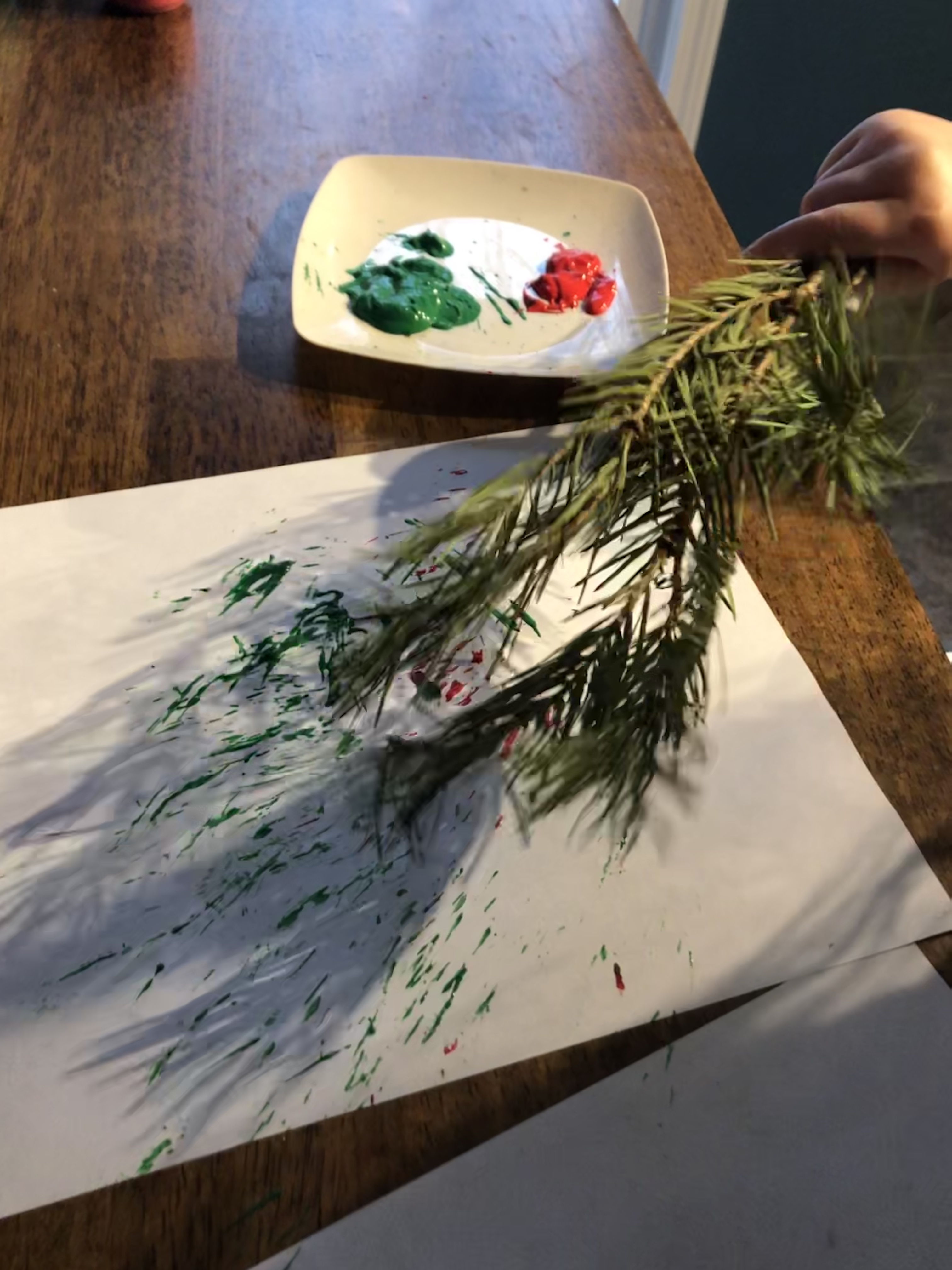 Winter Art Activities for toddlers: pine tree branch painting.