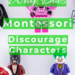 Why does Montessori discourage characters? Pinterest graphic with character toys