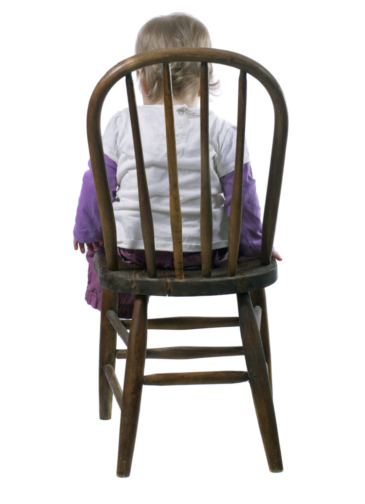 What is a time-in image of child sitting in chair.