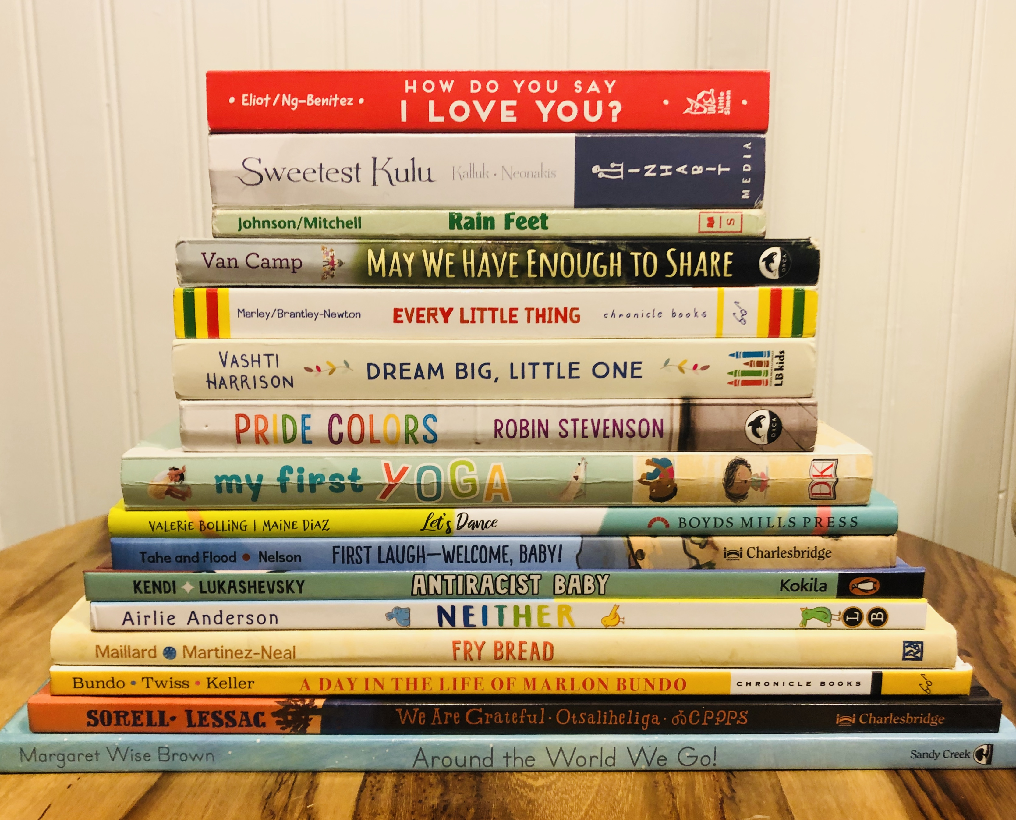 a stack of inclusive and diverse children's books
