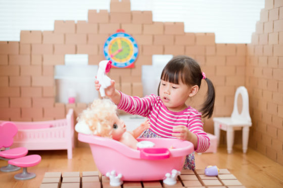Toddler washing doll