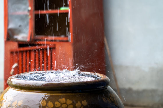 water dripping in jug.